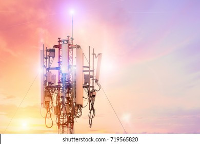Technology on the top of the telecommunication GSM (5G,4G,3G) tower.Cellular phone antennas on a building roof.Telecommunication mast television antennas.Receiving and transmitting stations.