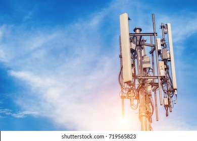 Technology on the top of the telecommunication GSM (5G,4G,3G) tower.Cellular phone antennas on a building roof.Telecommunication mast television antennas.Receiving and transmitting stations