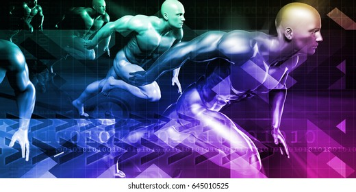 Technology Research and Race to Success as Concept 3D Illustration Render