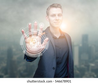 technology scan man hand