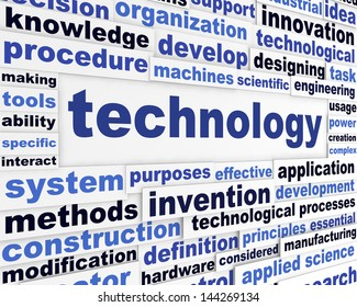 Technology scientific words design. Creative technological message background