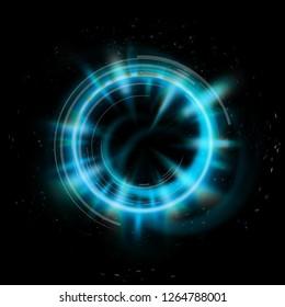 Technology swirl, portal, light swirl, abstract background, geometric design.