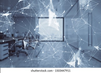 Technology theme drawing with office interior on background. Multi exposure. Concept of innovation