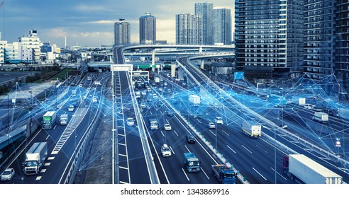 Technology of transportation concept. Traffic control systems. Internet of Things. Mobility as a service. - Shutterstock ID 1343869916
