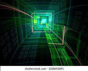Technology tunnel - green fractal background. Fractal art: bizzard well, portal or hole. Abstract computer-generated image for web design, posters, covers.