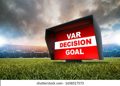 technology var decision Goal.The video assistant referee scene a match official in football stadium.