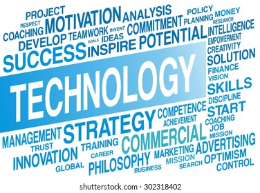TECHNOLOGY word cloud concept in blue color