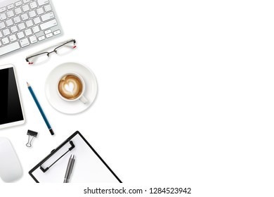 technology working table with laptop computer, office supplies, coffee cup and cell phone isolated and white background