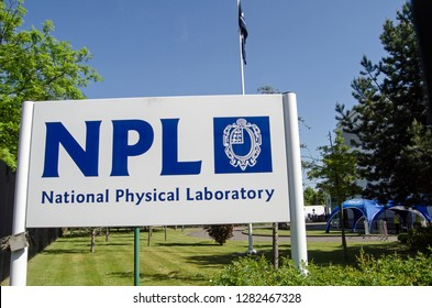 TEDDINGTON, UK - MAY 17, 2018:  Sign a the entrance for the National Physical Laboratory in Teddington, South West London.  Scientists here work on a variety of projects including using atomic clocks
