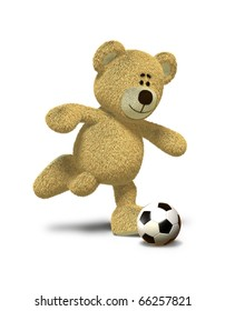 Teddy Bear is about to kick a soccer ball that lies in front of him. This image is isolated on a white background with soft shadow.