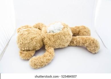 Teddy bear alone in white room,Sad,Damaged,abandon