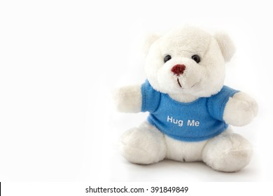 Teddy bear blue t-shirt isolated on white background.