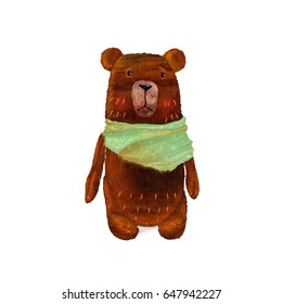 A teddy bear brown shaggy with a green scarf around his neck looks right cute
