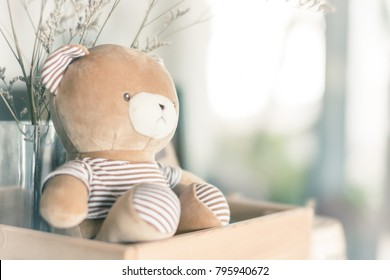 Teddy bear brown In  wood box