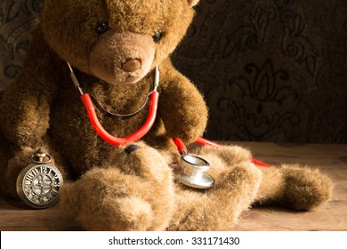 Teddy bear doctor  with a stetoscope