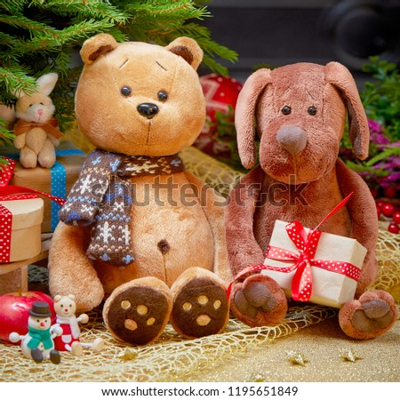 Teddy Bear Dog Toys Under Christmas Stock Photo Edit Now
