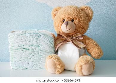 Teddy bear dressed in diaper