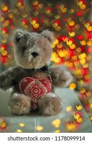 Teddy bear with heart light