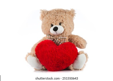 Teddy bear love images stock photos vectors shutterstock teddy bear holding a heart on white background altavistaventures Images