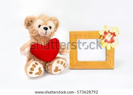 Teddy Bear Holding Heart Photo Frame Stock Photo Edit Now
