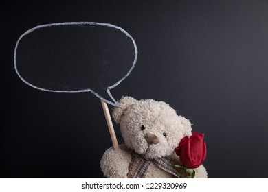Teddy Bear holding a red rose and a speech bubble