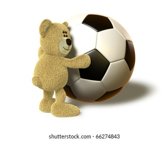 A teddy bear hugs a huge Soccer Ball and smiles. This image is isolated on a white background with soft shadows.
