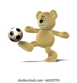 A teddy bear is kicking a soccer ball up into the air with his right leg. The image is isolated on a white background with soft shadows.