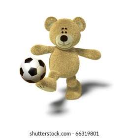 A teddy bear is kicking a soccer ball up into the air with his right leg. Viewed from the front, side views also available. The image is isolated on a white background with soft shadows.