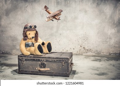 Teddy Bear with leather aviator's hat and goggles sitting on vintage old aged classic travel trunk circa 1900s with film camera and flying toy plane. Travel by air concept. Retro style filtered photo