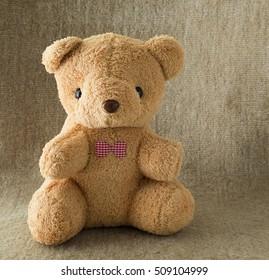 teddy bear lon the carpet background