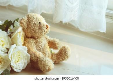 Teddy bear is looking outside window