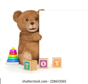 Teddy bear with a panel