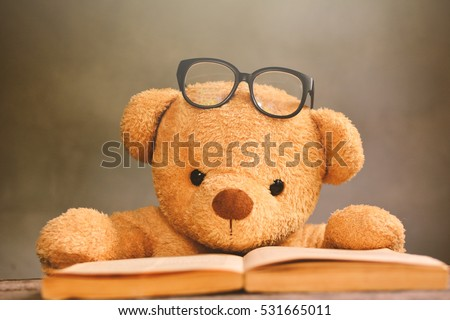 teddy bear reading book color vintage stock photo edit now