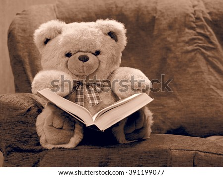 teddy bear reading book seating on stock photo edit now 391199077