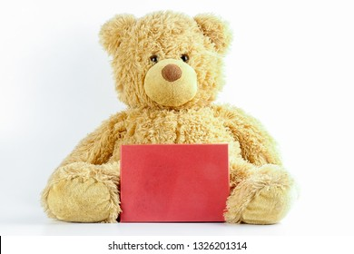 Teddy bear with red board on white. Copy space.