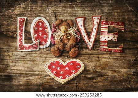 Teddy Bear Red Heart On Wooden Stock Photo Edit Now 259253285