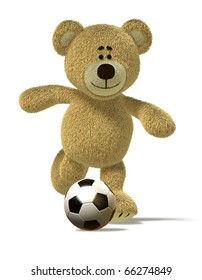 Teddy Bear is running and about to kick off a soccer ball in front of him. This image is isolated on white with soft shadows.