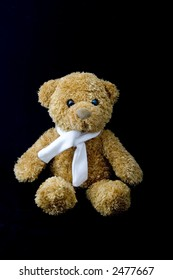 Teddy bear with scarf over black