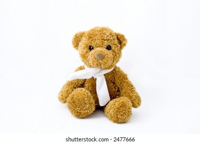 Teddy bear with scarf over white