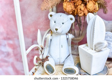 Teddy Bear Sculpture with Cactus Plant for Decoration