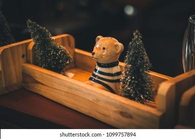 Teddy Bear Seramic Christmas Tree In the basket