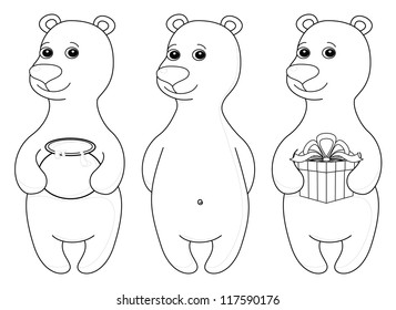 Teddy bear set, cute little toy, standing and smiling, isolated. Various simple, with gift box and honey pot, contours