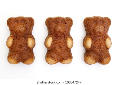 teddy bear shaped cakes isolated on white background