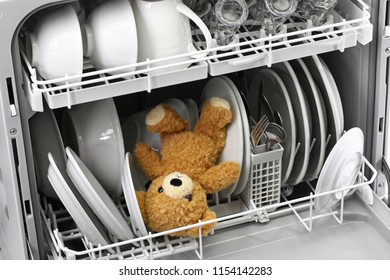 teddy bear should never put in the dishwasher.