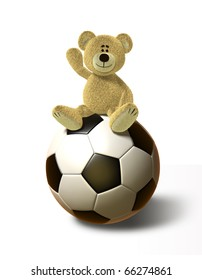 A teddy bear sits on a huge soccer ball, smiles and holds his right hand up in the air. This image is isolated on a white background with soft shadows.