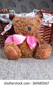 Teddy Bear sitting near wicker basket