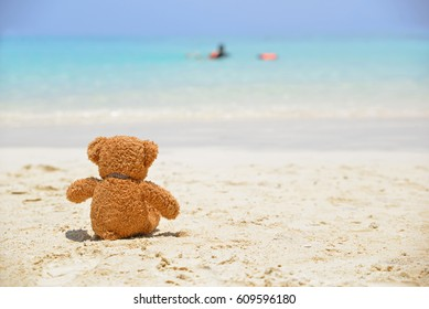 Teddy Bear sitting on the beach with blue sea and sky background. Concept about loneliness and expectancy.