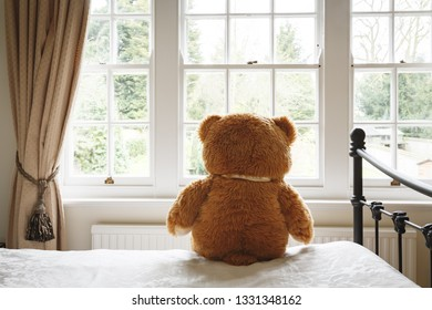 Teddy bear sitting on a bed looking out of a window. Can depict loneliness, depression or anxiety