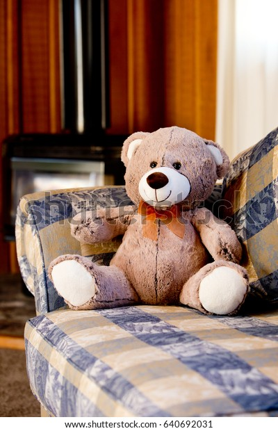 Teddy Bear - sitting on sofa couch in front of fireplace