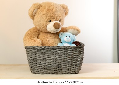 teddy bear is sitting in the wicker basket